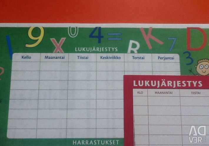 School timetable in Finnish