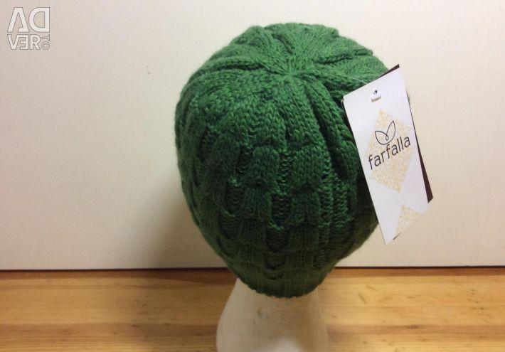 Роскошная вязаная шапочка зеленого цвета, арт 264