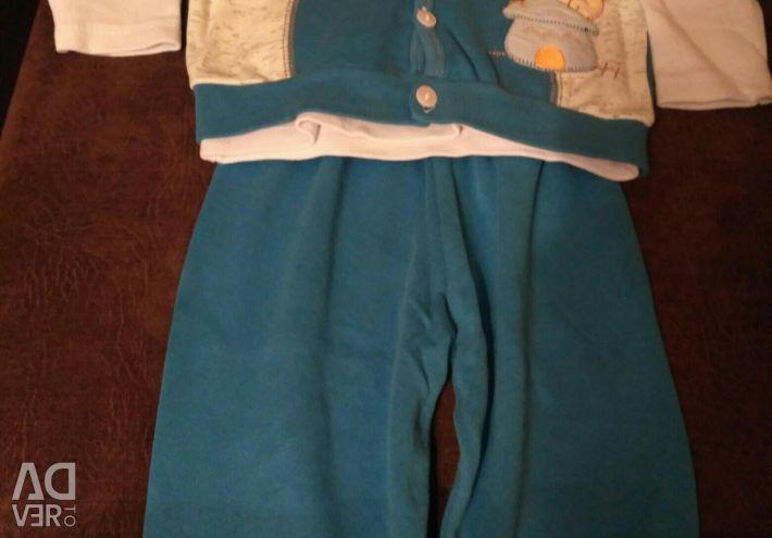 Three piece suit. New. Size 74-80