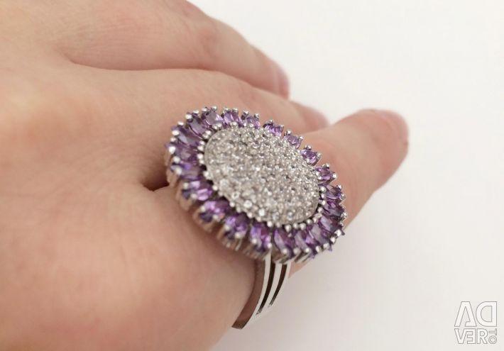 Δαχτυλίδι 925 ασημένιο με αμέθυσες και κυβικά ζιρκονία