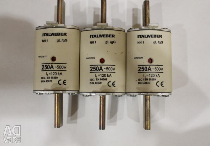 Fuses, 250A inserts, Italian, new.