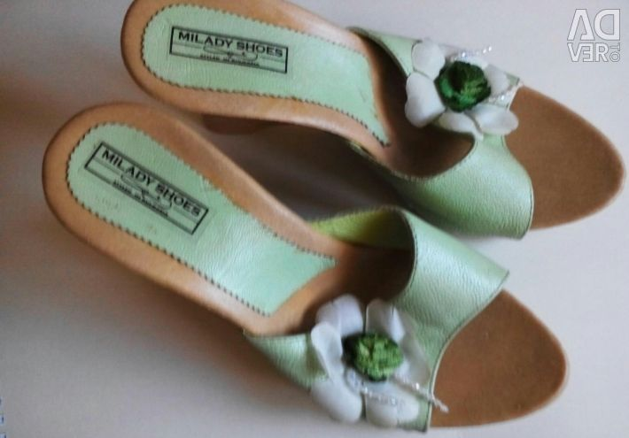 Leather slippers, clogs new 37 size leather