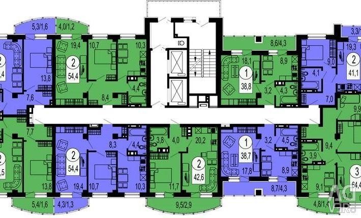 Apartment, 2 rooms, 48.7 m²