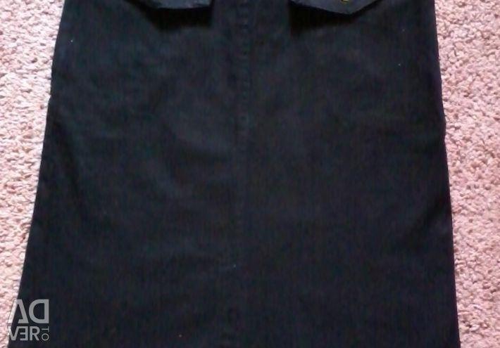 Skirt denim 21 rubles, hips - up to 84 cm, dl. 55 centimeters