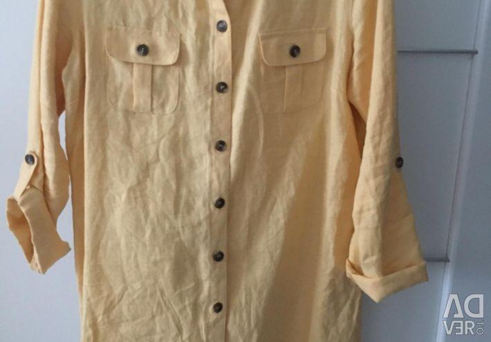 Платье- рубашка льняная р.46-48, рубашка серая р.4