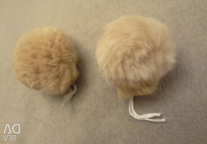 Fur on the cap ears cream-red