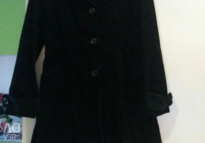 Αδιάβροχο μόδας H & M. Μαύρο velveteen σελ. 40-44