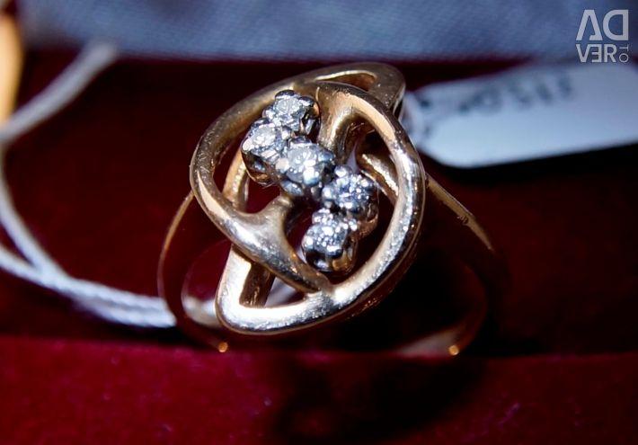 Золотое кольцо с бриллиантами 15 размера
