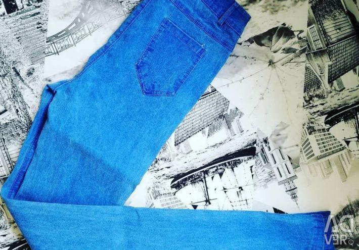 Джинсы новые джеггинсы голубые
