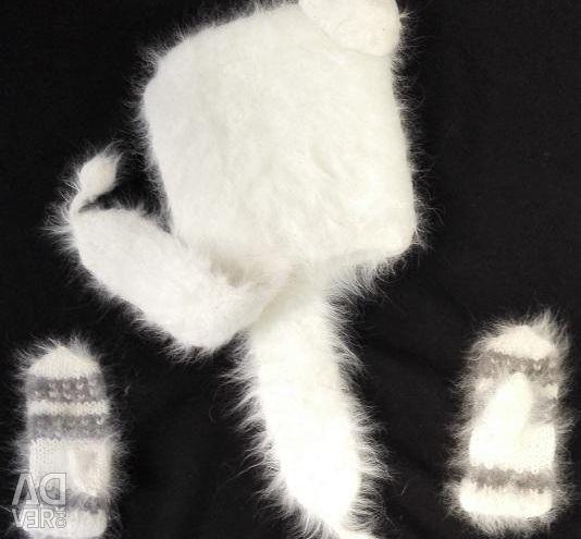Pălăria Mittens de iarnă Iepure jos