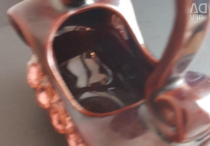 Винтажная керамическая вазочка корзинка