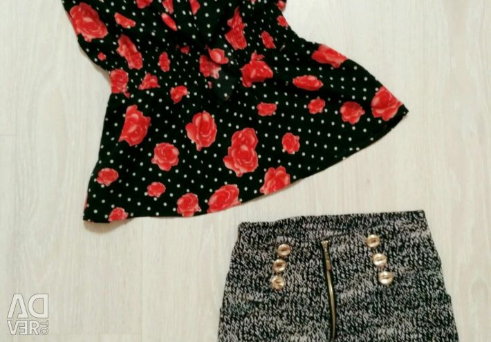 Set of blouse + shorts for women