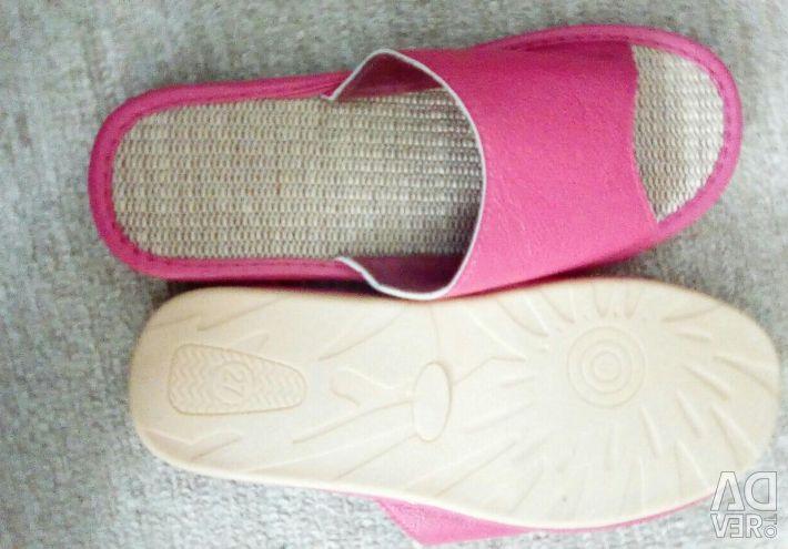 Flip flops made of genuine leather