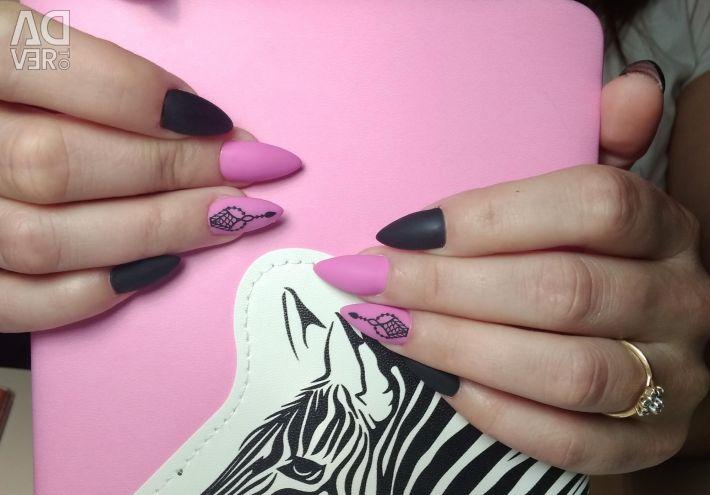 Manicure, nail extension, design.