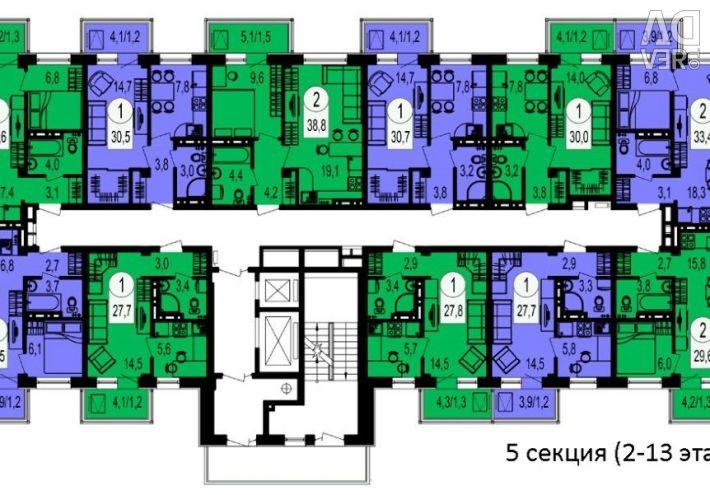 Apartment, 2 rooms, 38.79 m²