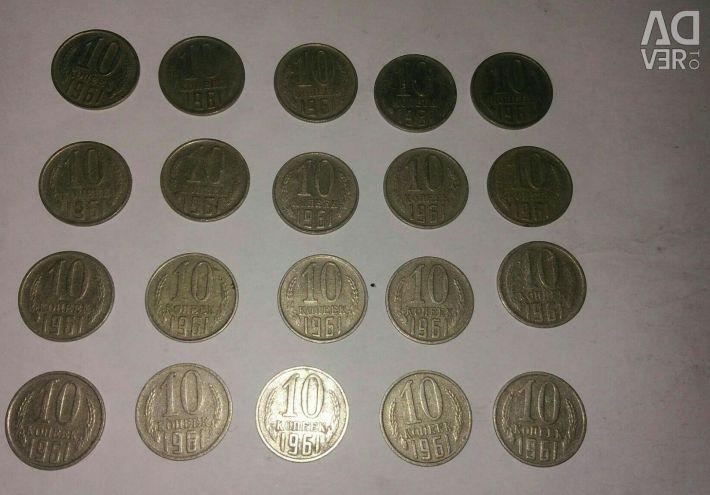 10 kopecks 1961year, 20 pieces