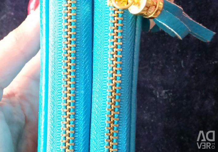 Leather Clutch Wallet Blue