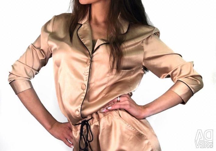 Salopetă de mătase în stil pijama nou
