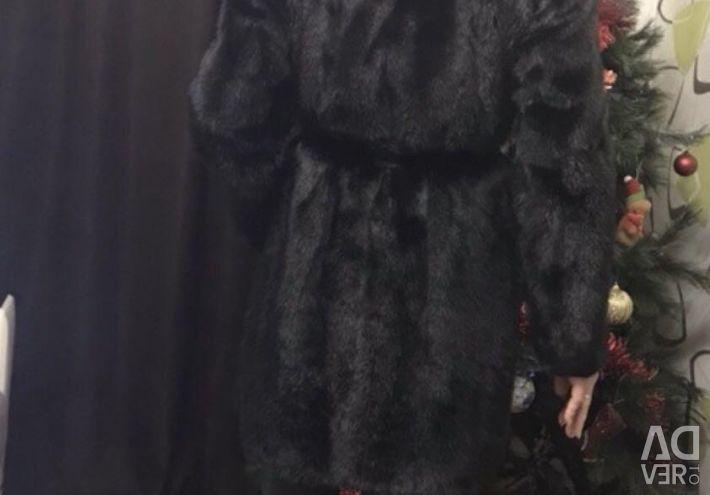Mink παλτό με κουκούλα (44-46)
