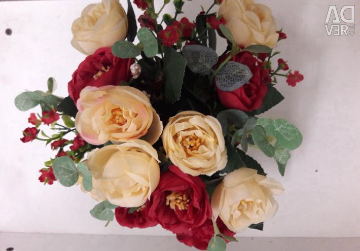 Artificial flowers with a vase