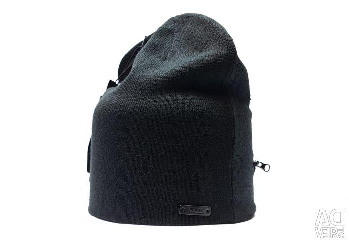 Pălărie transformator cu fermoar (negru)