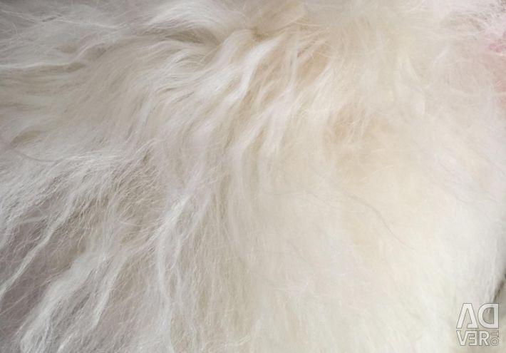 Vest cu blană cu inserții de piele pe laterale și centură