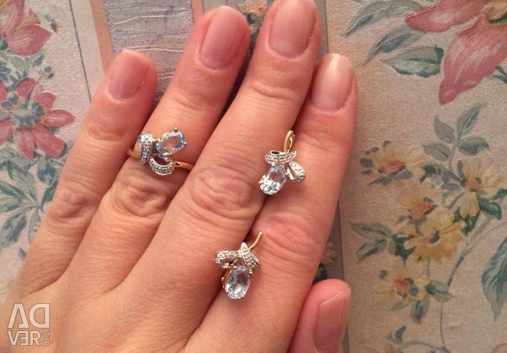 Оч классный комплект золото бриллианты топазы