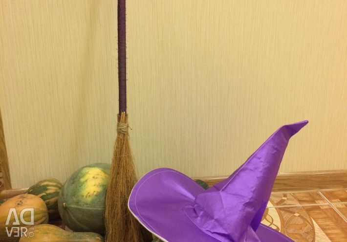 Witch costume, hat and broom