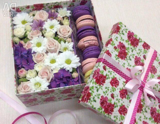 Box with fresh flowers