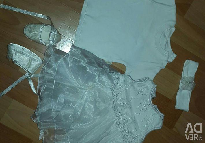 Elegant dress (set) from birth to 3-6 months.