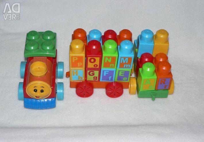 Designer de tren din limba engleză. alfabetul Mega Bloks