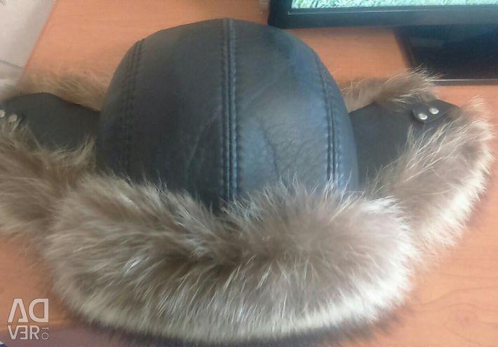 Καπέλο ανδρών με πτερύγια. Γούνα φυσικό