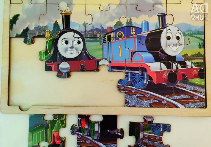Παζλ ατμομηχανή Thomas Thomas από ξύλο.