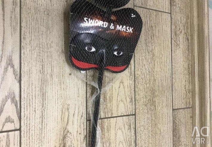 Carnival costume Zorro, Sword and Mask