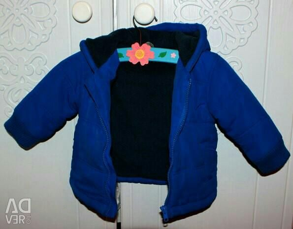 Blue warm jacket for a boy of 6-12 months