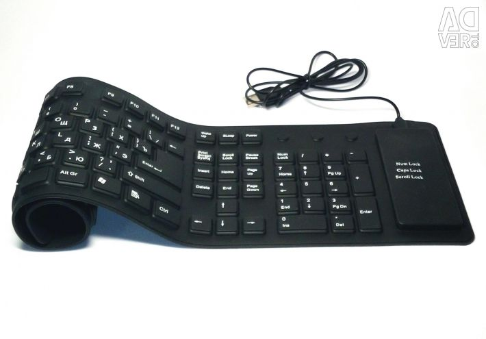🔥 Flexible Keyboard USB 109 Cl, Silicone Eng / Rus
