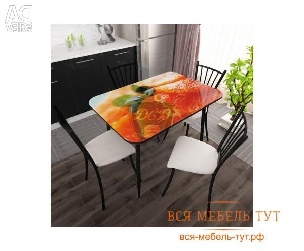 Dining table MDF with photo printing and glass., Lime and ice