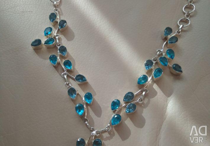 Necklace silver 925 topaz tanzanite