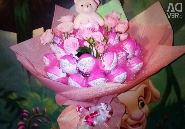 Bouquets of kinders, toys, flowers)