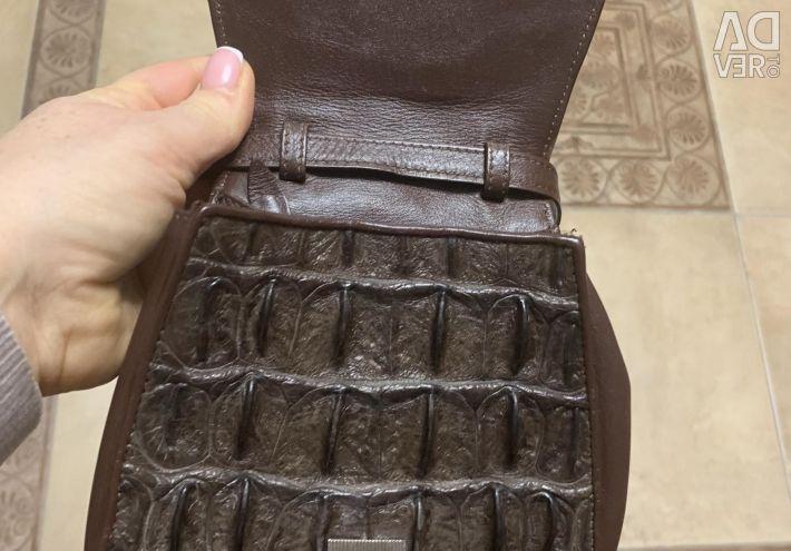Geantă de mână din piele de crocodil autentică