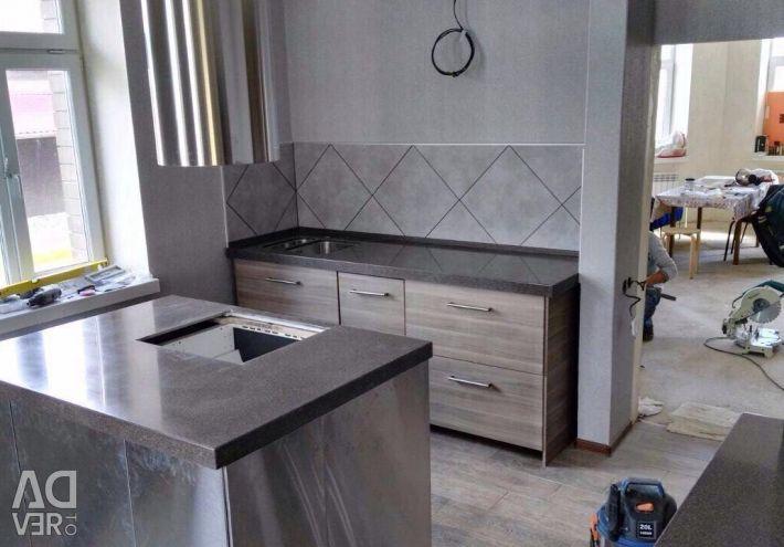 Kitchen worktop with artificial stone island