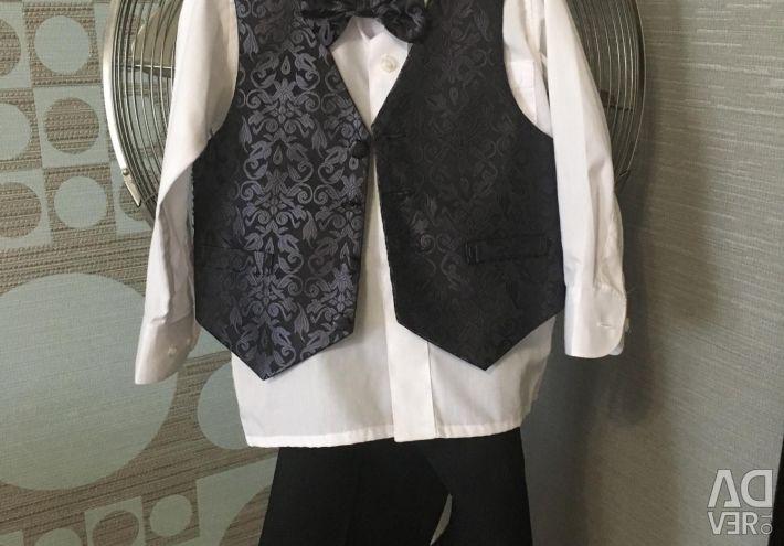 Set pantaloni / vesta / tricou / fluture Rodeng