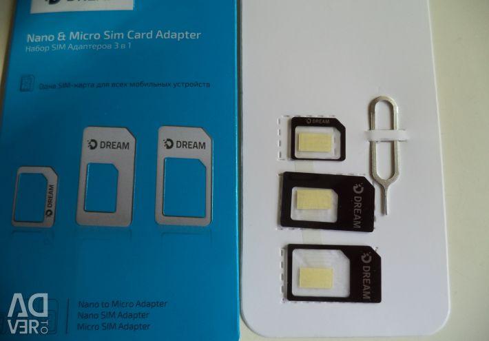 Προσαρμογέας, προσαρμογέας για κάρτες SIM 4 έως 1. + Ακίδα
