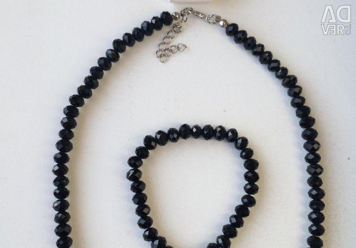 Set: beads, bracelet and earrings (Czech glass)