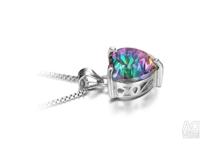 Silver pendant and mystical topaz new