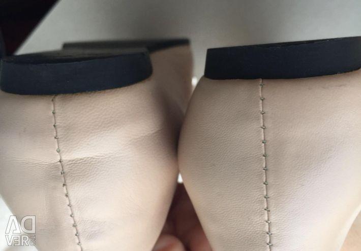 Bale ayakkabıları, deri, bej 37 р-р
