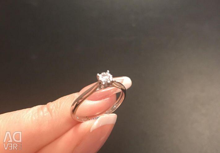 Λευκό χρυσό δαχτυλίδι αρραβώνων διαμαντιών