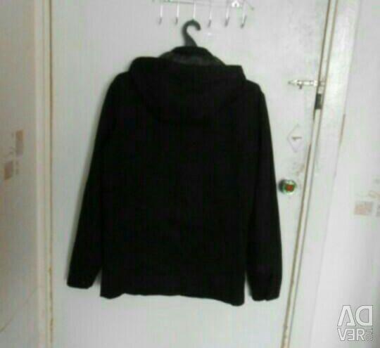 Μπουφάν μαύρο με κουκούλα (άνοιξη-φθινόπωρο)