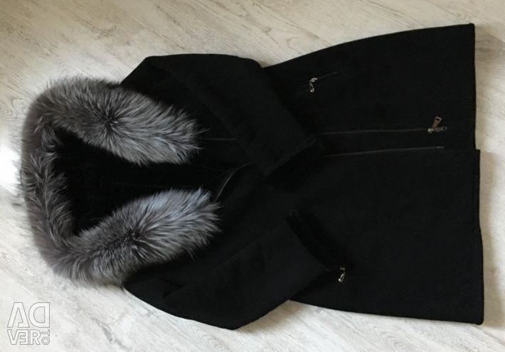 Sheepskin coat r 52 hood with silver fox
