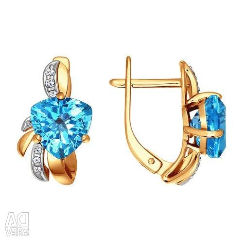 Earrings made of gold with topaz and cubic zirconia